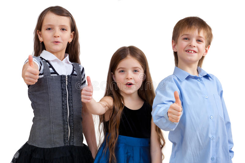 Download Three Cute Children Shows Good Sign Stock Image - Image: 23943889