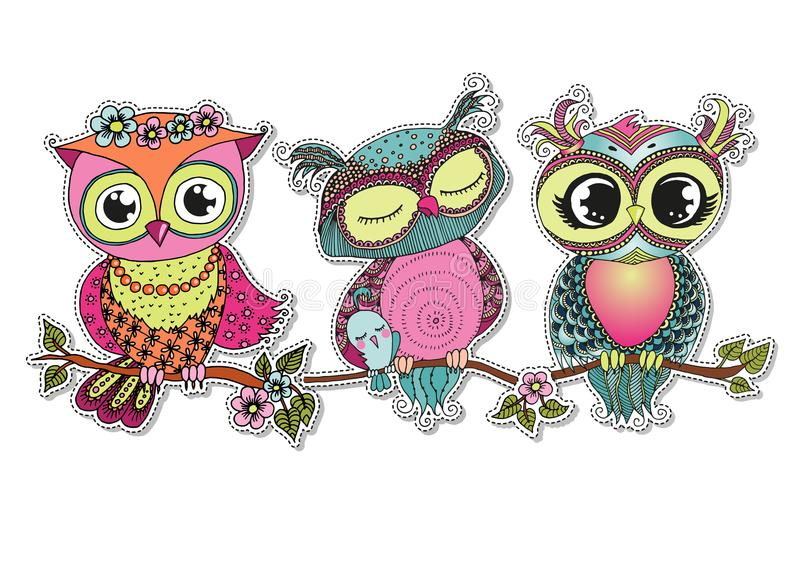 Three Cute colorful cartoon owls sitting on tree branch stock photo