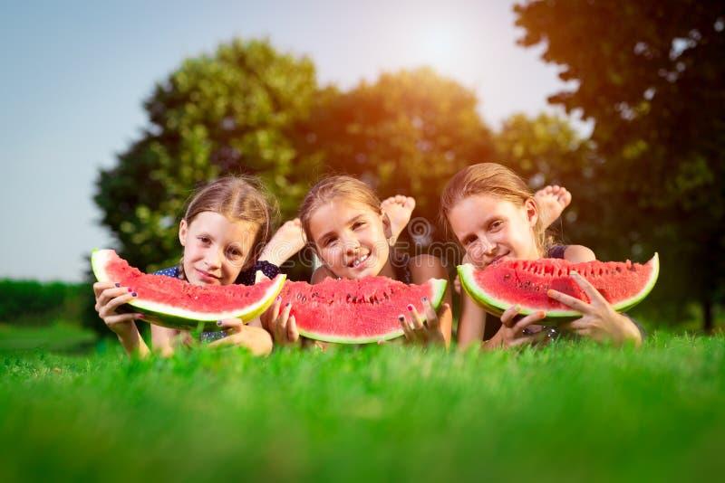 Three cute girls eating watermelon stock photography