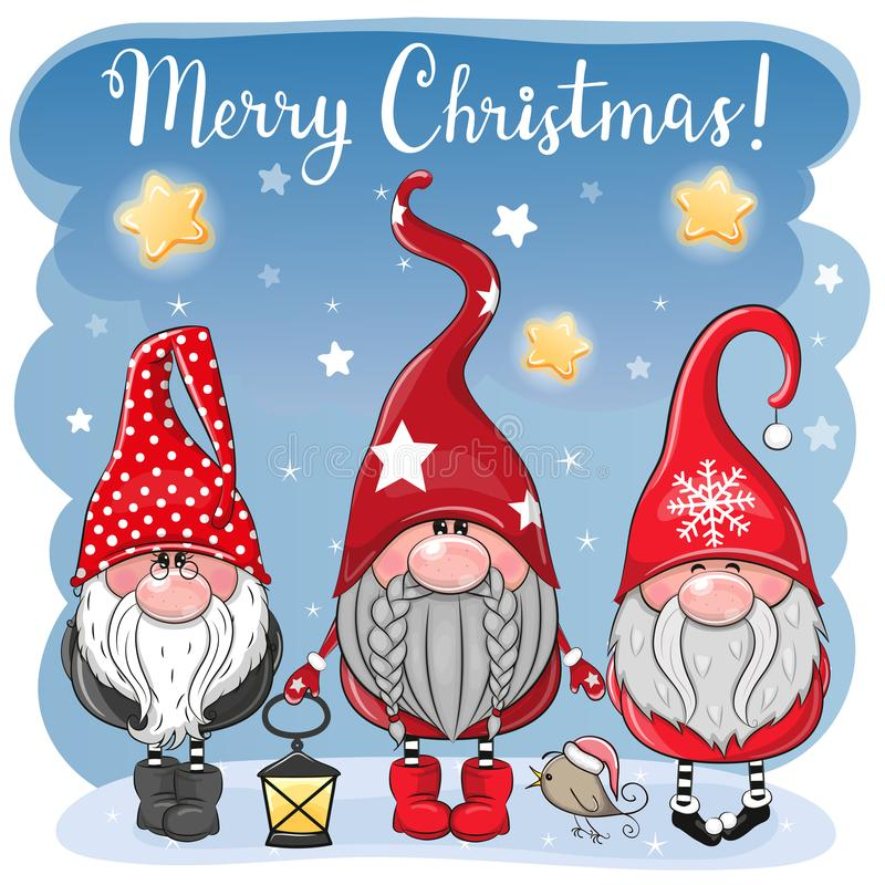 Three cute Gnomes on a blue background. Greeting Christmas card with Three cute Gnomes on a blue background stock illustration
