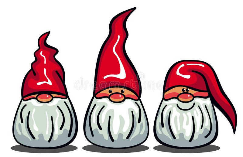 Three cute gnomes with white beards and long red hats stock illustration