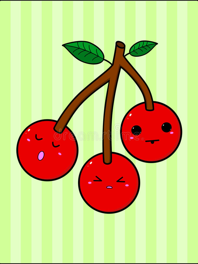 Three cute Kawaii cherries hanging from a branch royalty free illustration