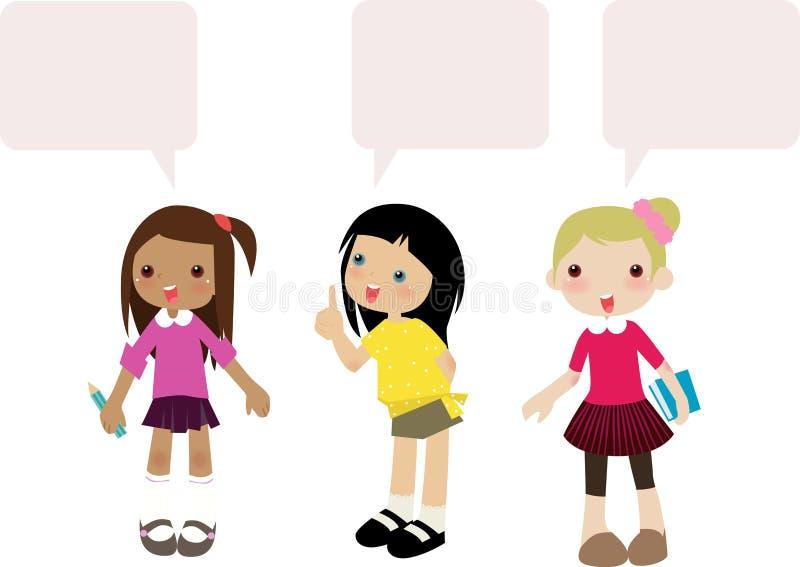 Three cute kids talk vector illustration