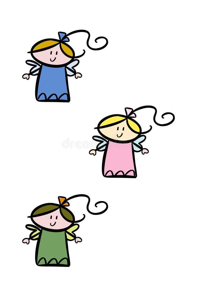 Download Three Cute Little Angel Girls Stock Illustration - Image: 16897624