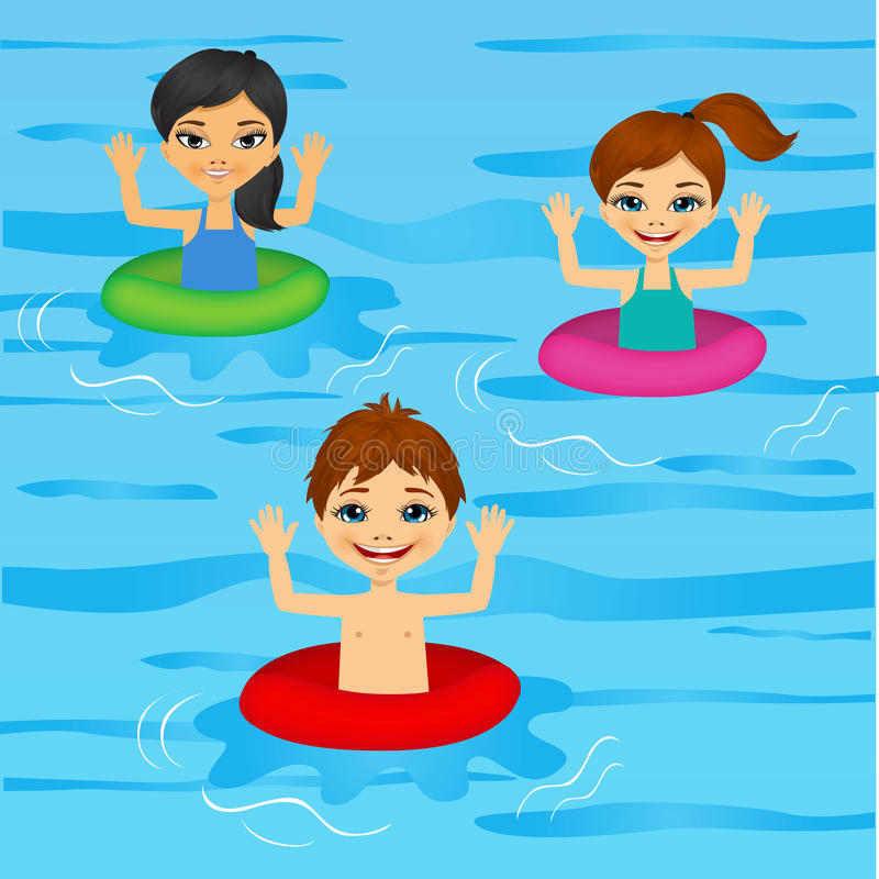 Three cute little kids swimming. Illustration of three cute little kids swimming with colorful floats royalty free illustration