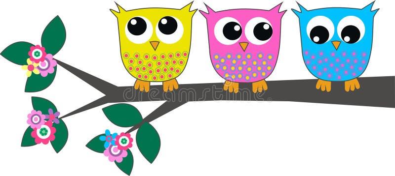 Three cute owls. Sitting on a branch vector illustration