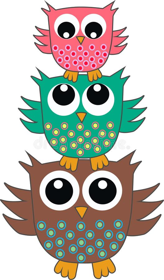 Download Three cute owls stock illustration. Illustration of cover - 19872568