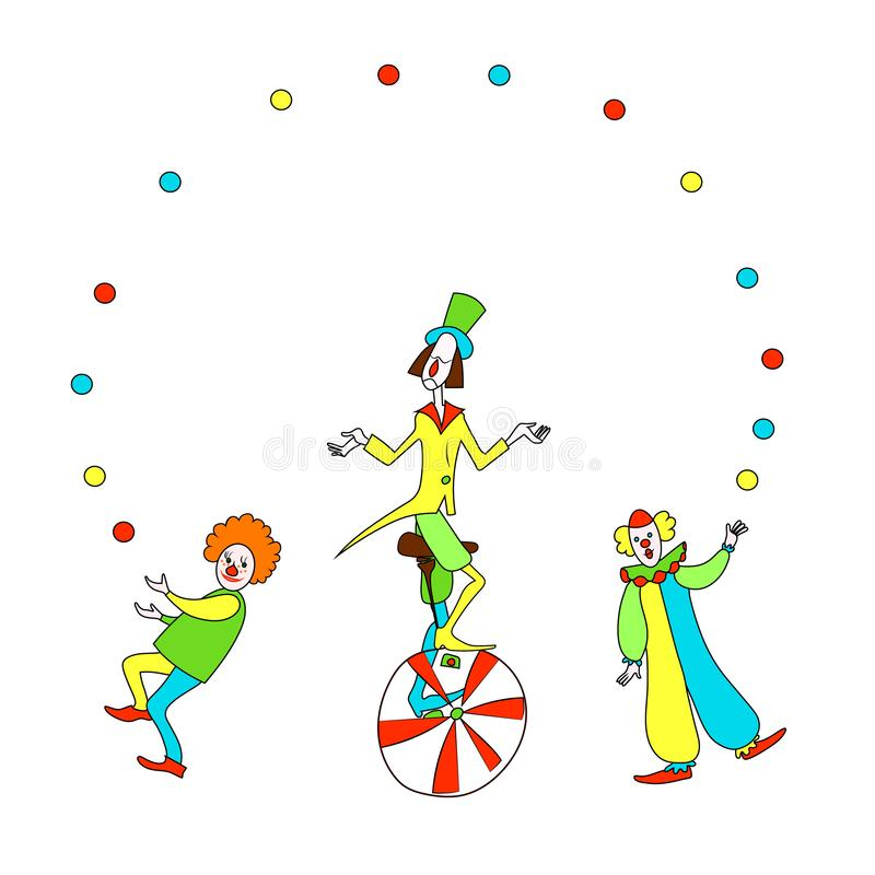 Funny clowns juggling. Color cartoon vector drawing image. Three cute smiling red and white clowns juggling. Color cartoon vector image for frame royalty free illustration