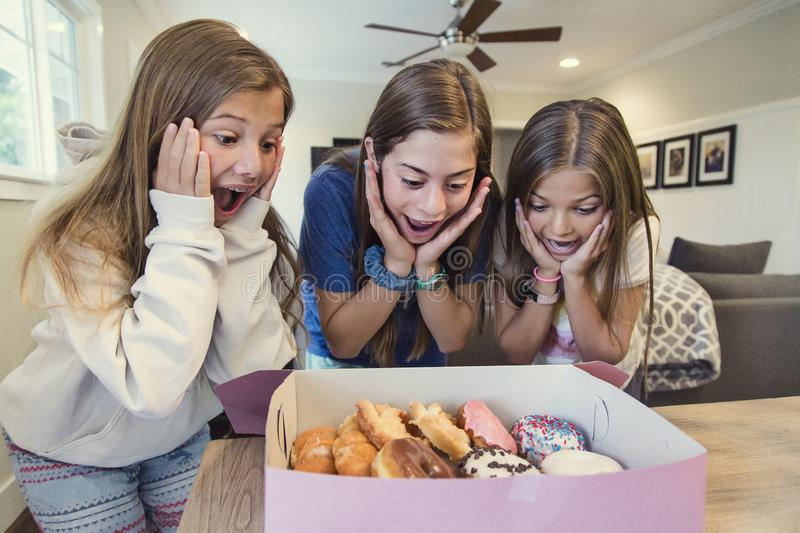 Cute teen girls excited about eating a dozen of delicious donuts. Three Cute teen girls excited about eating a dozen of delicious donuts. Ready to make a choice stock photos