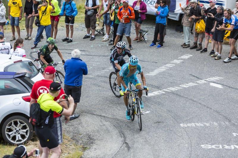 Three Cyclists - Tour de France 2015 stock image