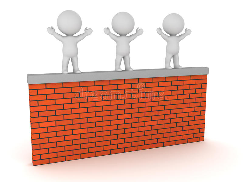Three 3D Characters on a Brick Wall. Three 3D characters standing on a brick wall. Isolated on white background royalty free illustration