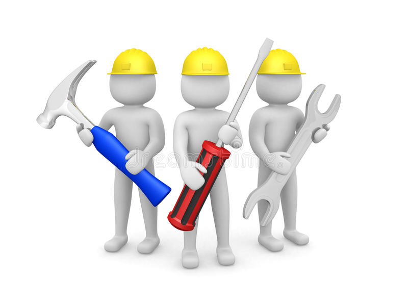 Three 3d man - people with the tools in the hands of. 3d image stock illustration