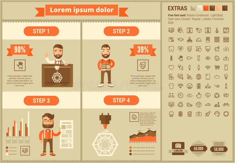 Three D printing flat design Infographic Template. Three D printing infographic template and elements. The template includes illustrations of hipster man and vector illustration