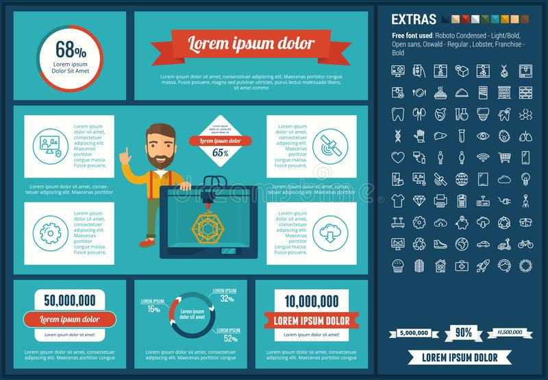 Three D printing flat design Infographic Template. Three D printing infographic template and elements. The template includes illustrations of hipster man and stock illustration
