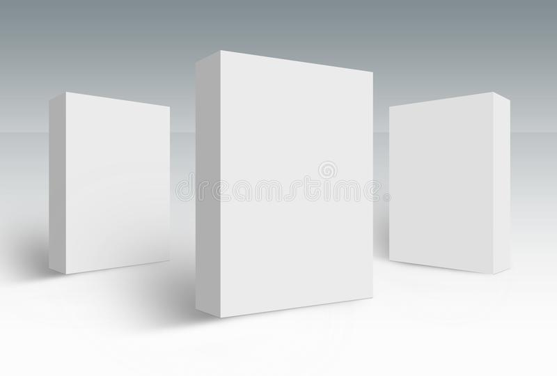 Two 3d white boxes on ground concept series. Three 3d white boxes on ground, mock up template ready for your design, clipping path included vector illustration