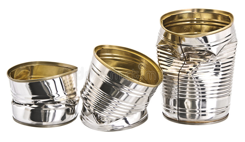 Three damaged tin cans royalty free stock images