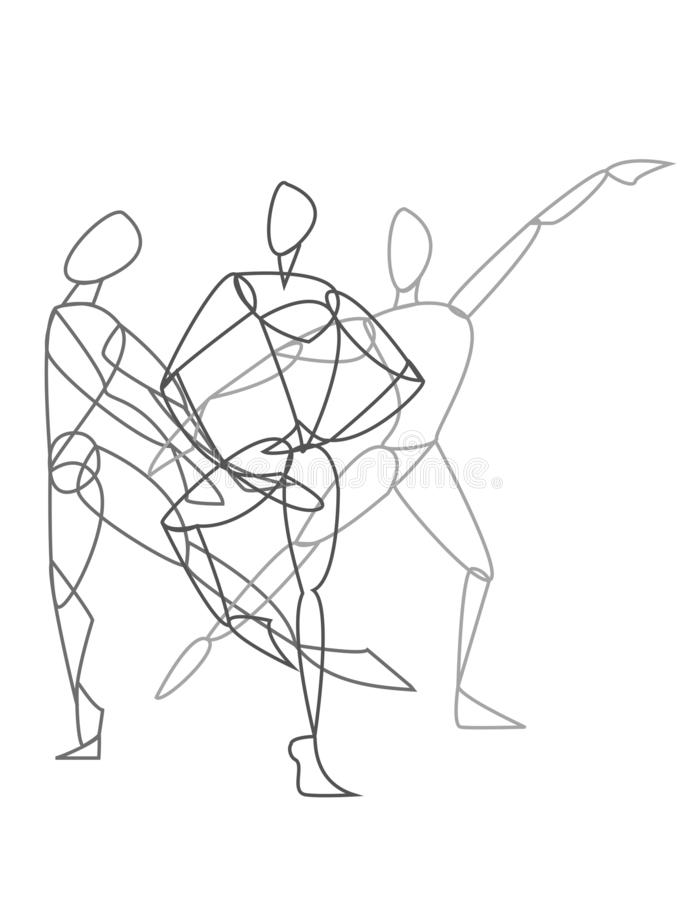 Three dancers or gymnasts posing in black and white. Three dancers or gymnasts in different dance poses in black and white stock illustration