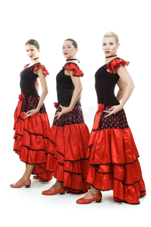 Download Three Dancers In National Spanish Costumes Stock Image - Image: 6892589