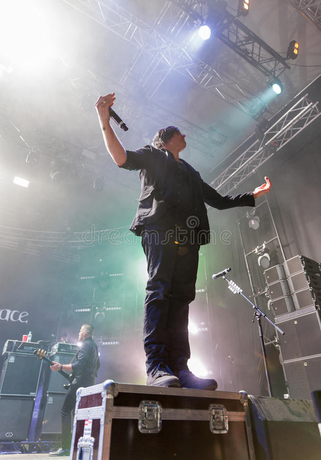 Three Days Grace band performs at Atlas Weekend. Kiev, Ukraine. royalty free stock image
