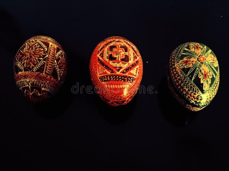 Three decorative eggs stock images