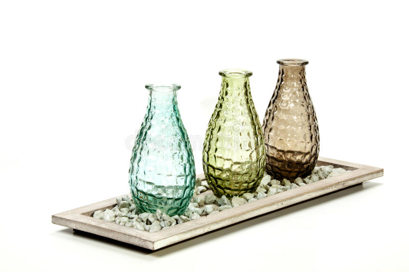 three decorative glass vases on stand with pebbles - Decorative Glass Vases