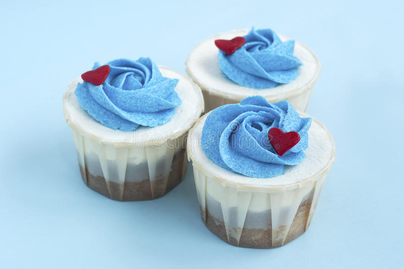 Three Delicious Love Cupcake Group Together Royalty Free Stock Images