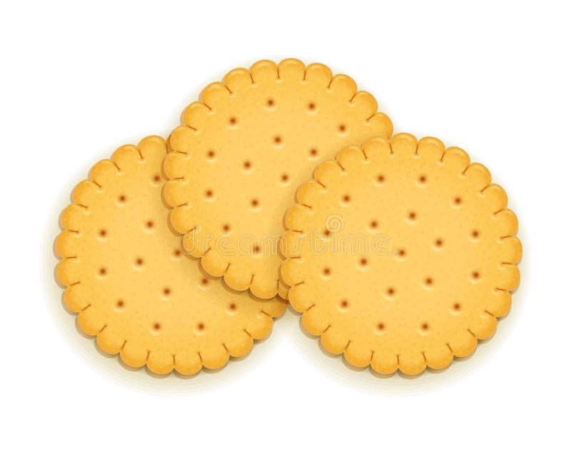 Three delicious round biscuit. stock illustration