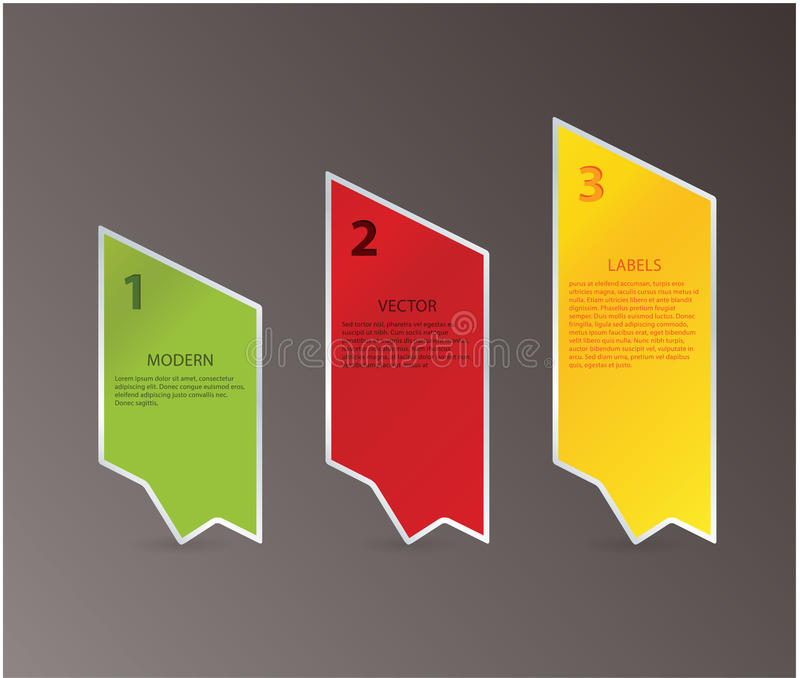 Three Design Arrows With Space For Your Content. Three Steps. Stock Photography