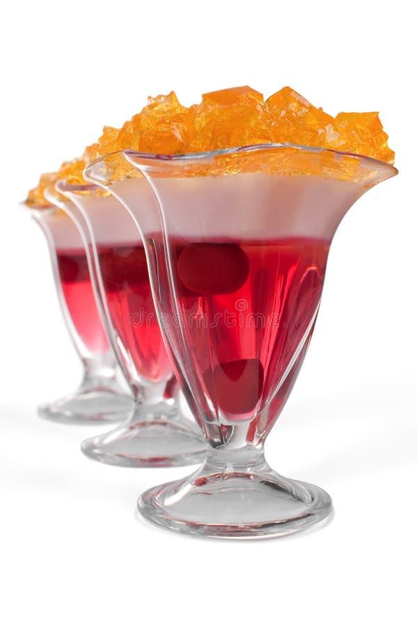 Free Three Desserts Jelly On White Background Stock Photos - 21729633