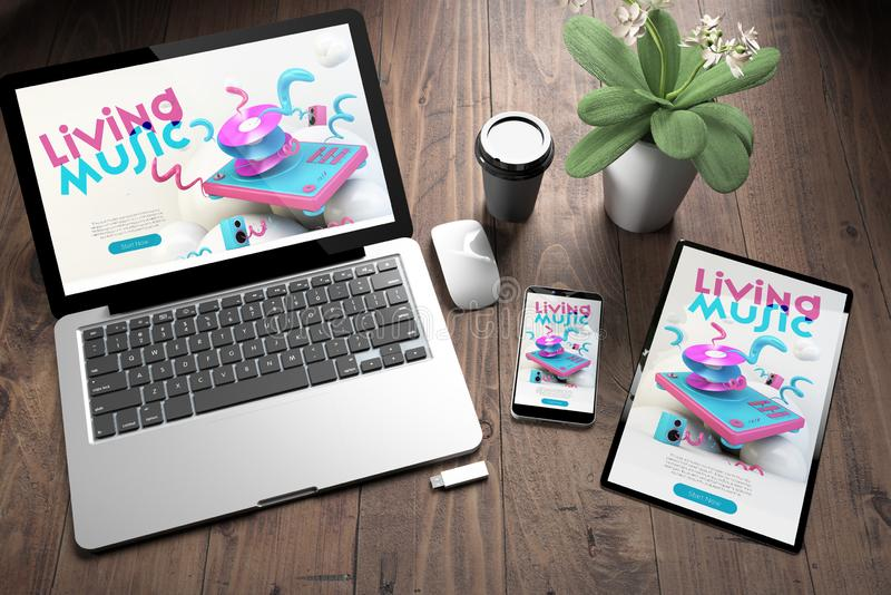 three devices on wooden desk top view music website stock illustration