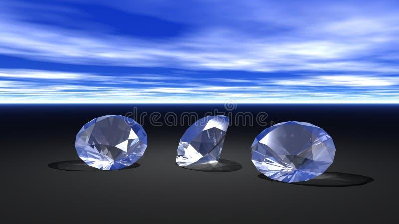 Three diamonds royalty free illustration