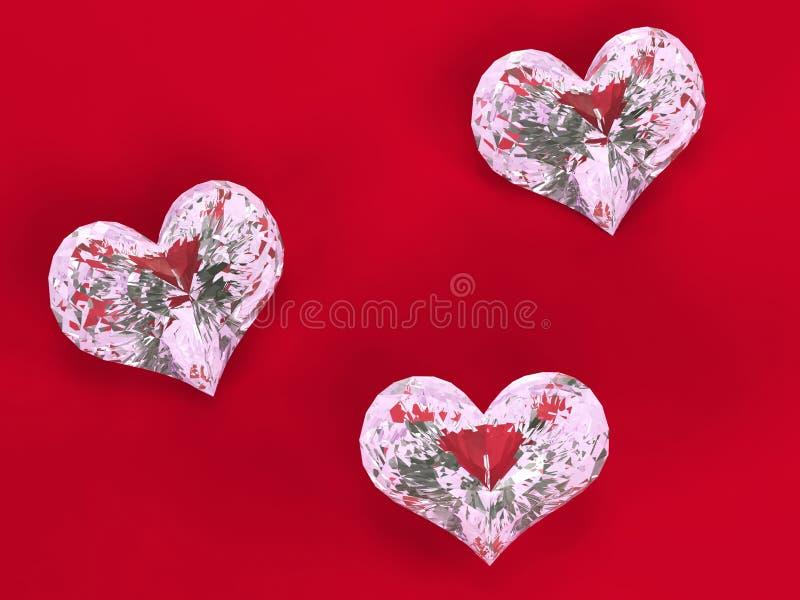 Three diamonds on red. Three diamonds - hearts over red velvet stock image