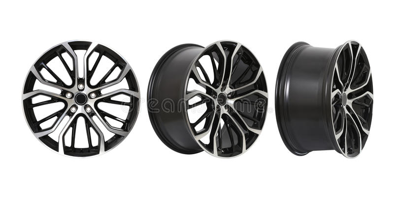 Three different angles rims. In a white background royalty free illustration
