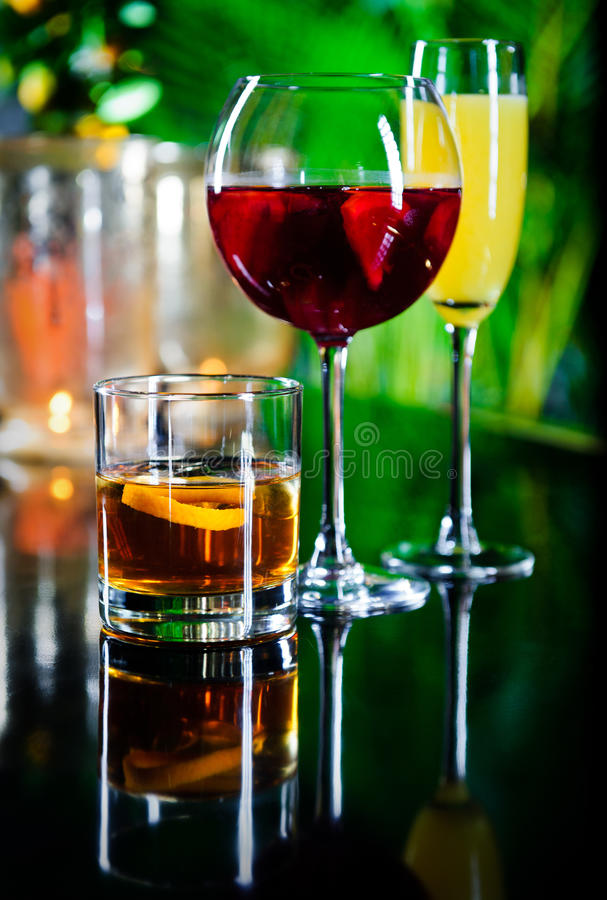 Three different beverages royalty free stock image
