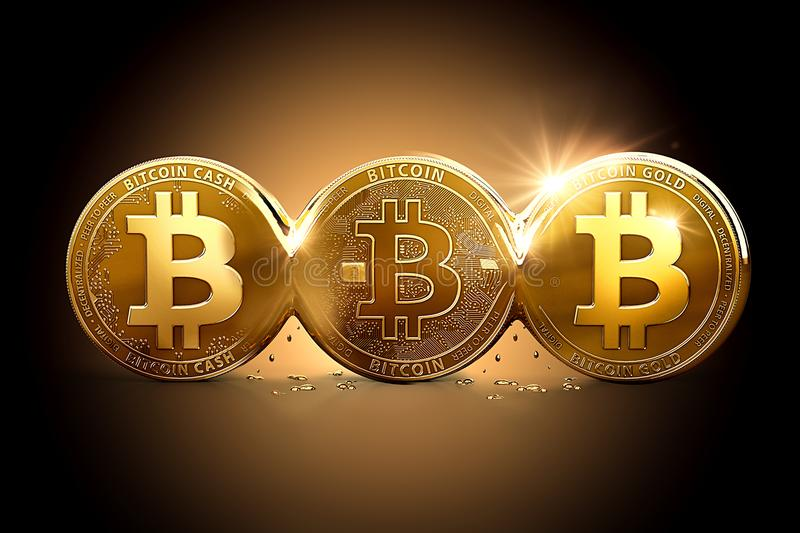 Three different Bitcoins as a result of Hard Forks. Bitcoin splitting into different currencies vector illustration
