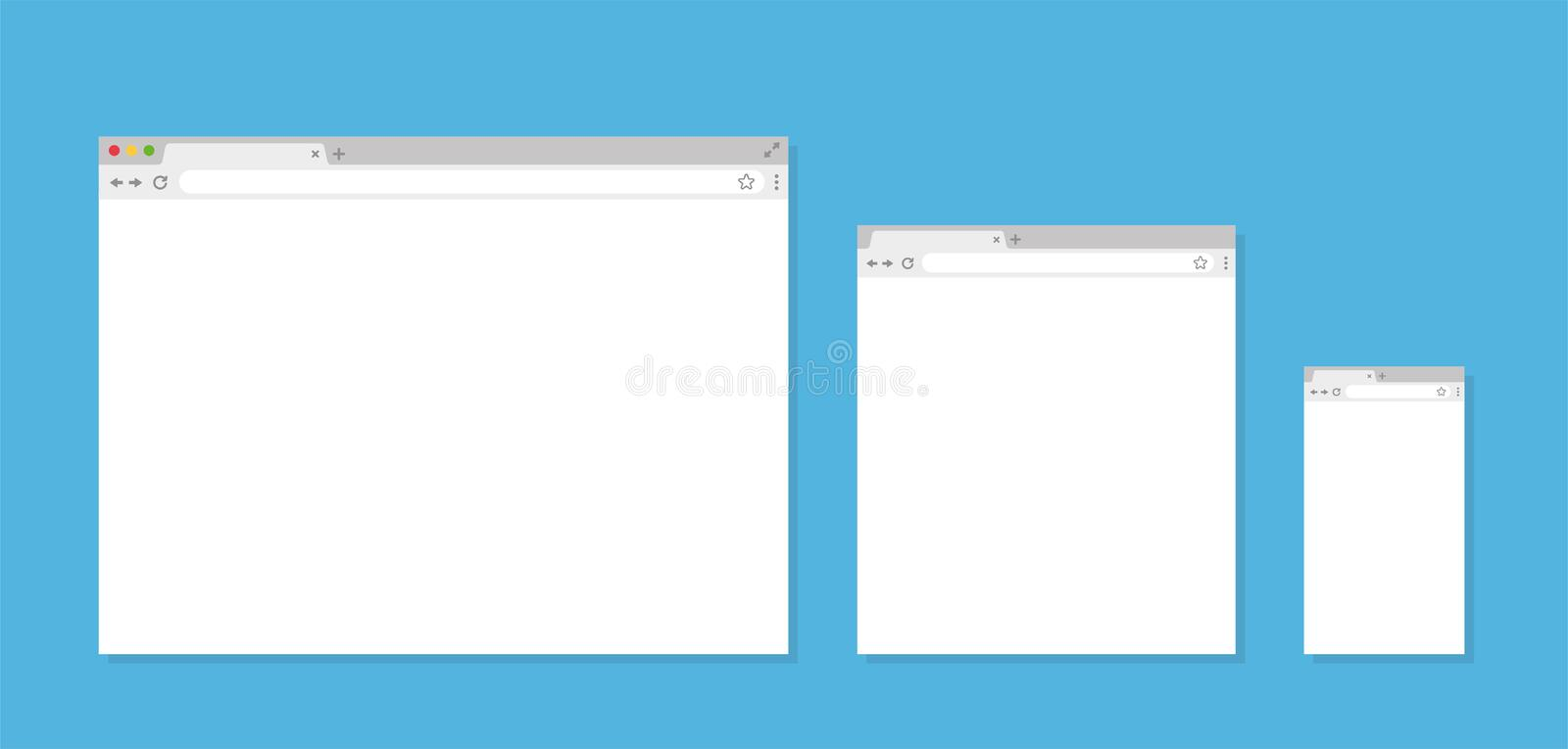Three different Browser window. Browser in flat style - stock vector stock photo