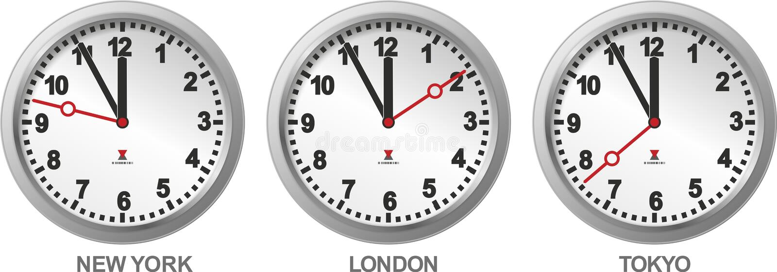 Three different clocks. Clocks with different time as a sign for international trade vector illustration