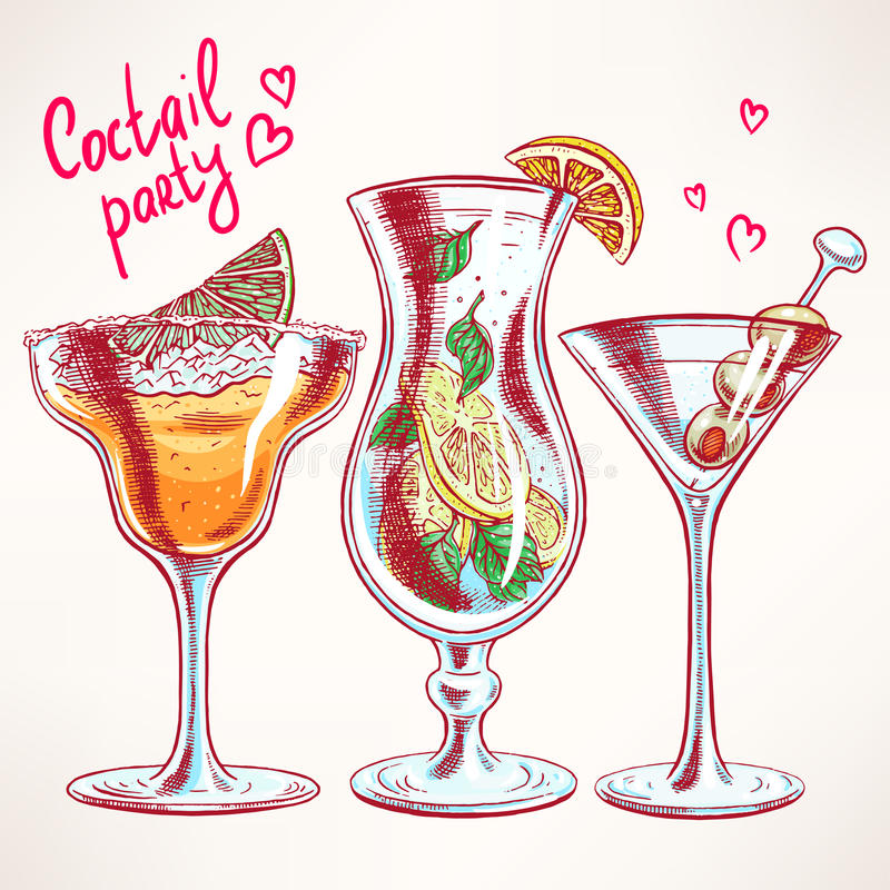 Three different cocktails stock illustration