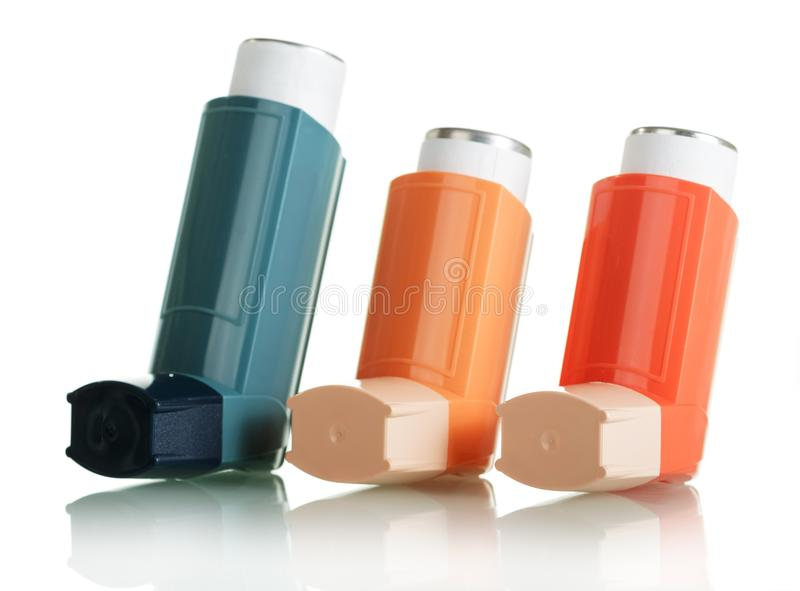 Three different asthma inhaler isolated on white background. stock photography