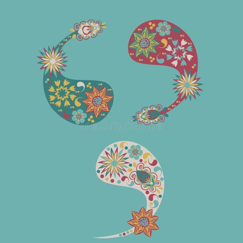 Three vector different cute Paisley pattern stock illustration