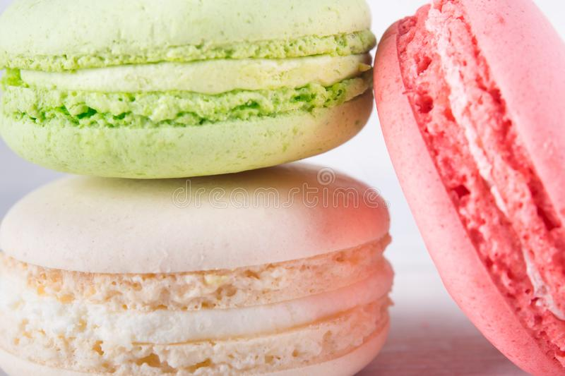 Three different flavors of cookies macaron, together royalty free stock image
