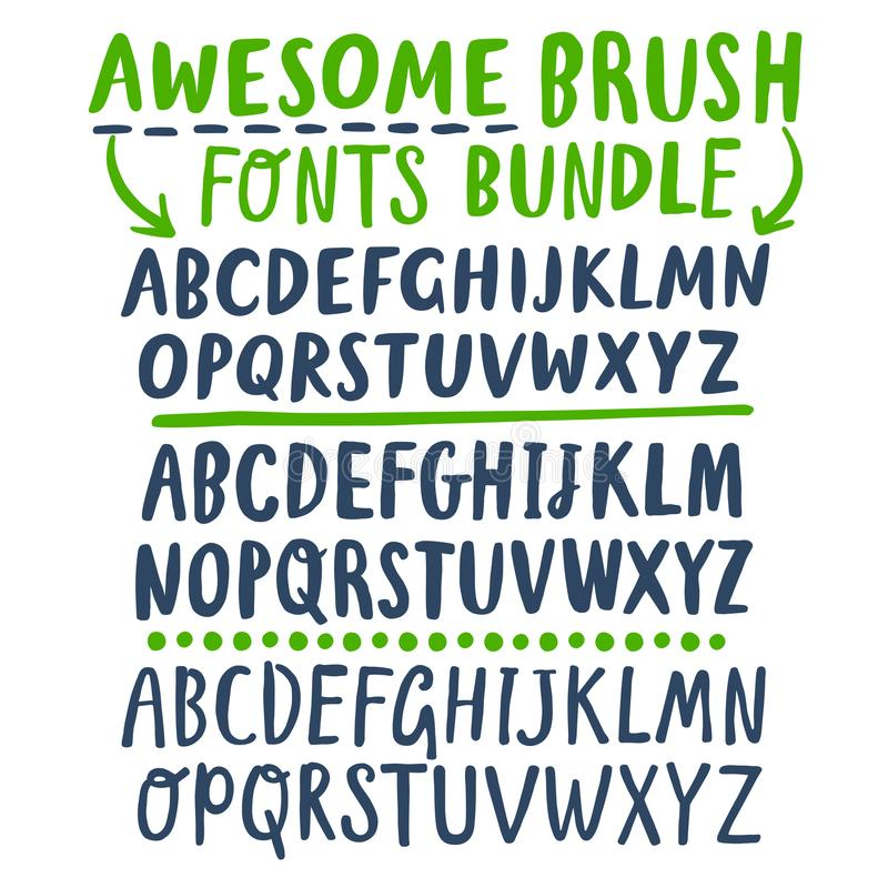 Three different fonts you can combine. Hand drawn brush ink ABC letters bundle. Three different sets you can combine. Awesome fonts for your design stock illustration