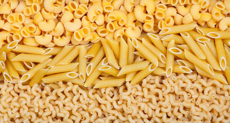 Three different kinds of pasta stock photo