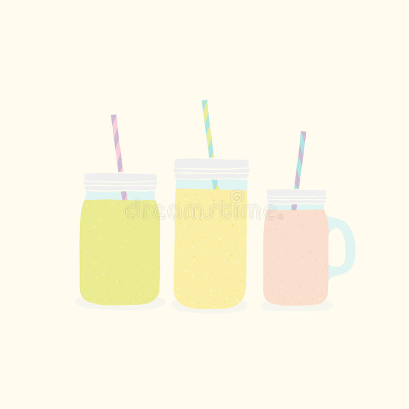 Three different mason jars with smoothies stock illustration