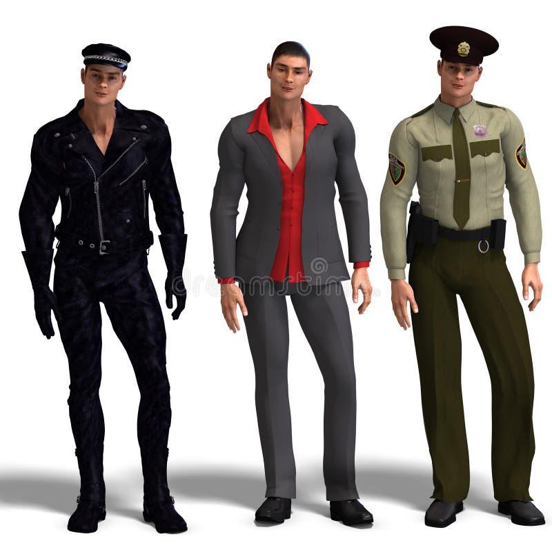 Three Different Outfits: Biker, Dressman, Stock Photo