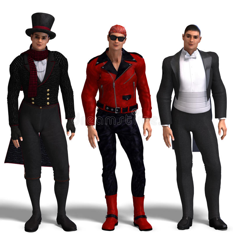 Free Three Different Outfits: Dandy, Biker, Formal Stock Photos - 9826333