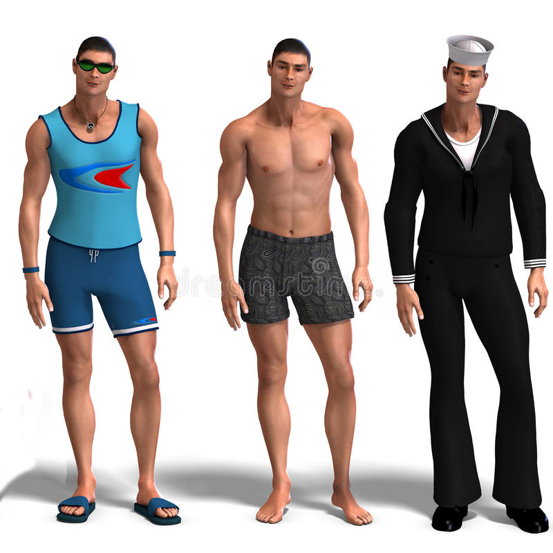 Download Three Different Outfits: Surfer, Swimmer, Sailor. Stock Illustration - Image: 9826358