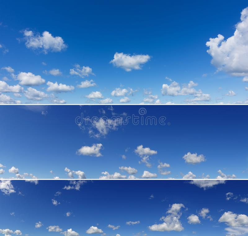 Three different panoramas of beautiful blue sky. stock photo