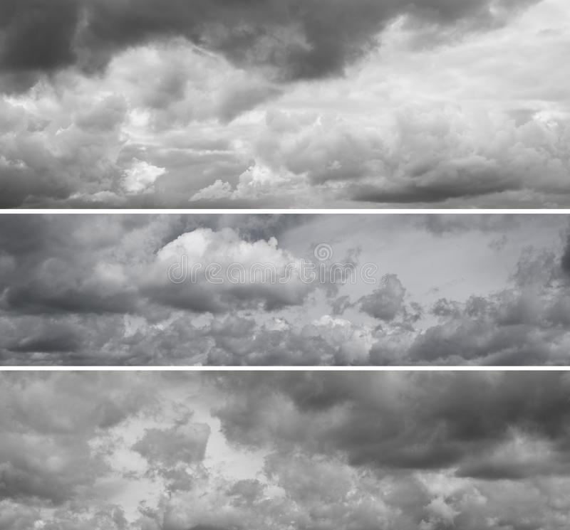 Three different panoramas of cloudy gray sky. royalty free stock images