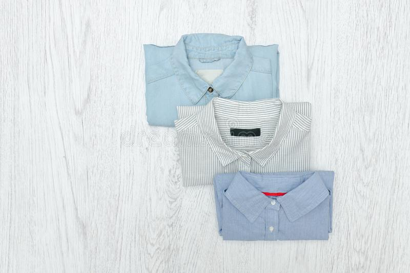 Three different shirts. Fashionable concept. Assortment.  stock image